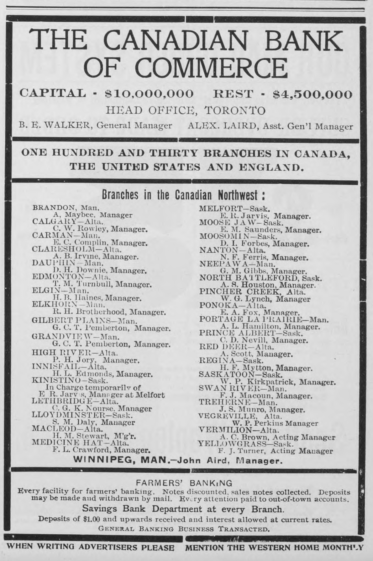 Advertisement showing a list of place names. Canadian Bank of Commerce, Advertisement, Western Home Monthly, March 1906, 7.