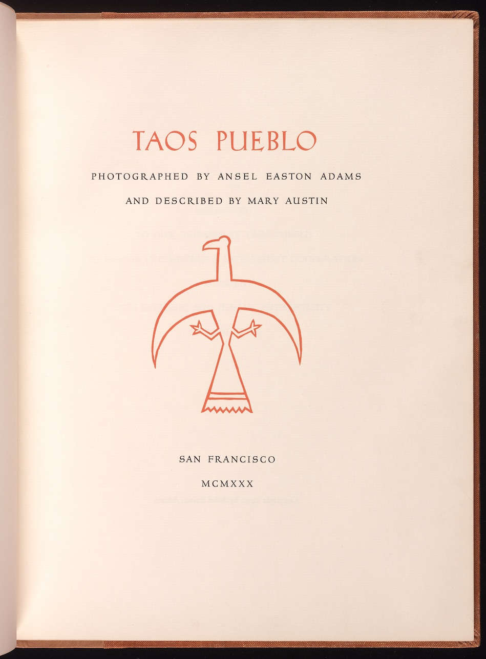 The title page of Taos Pueblo