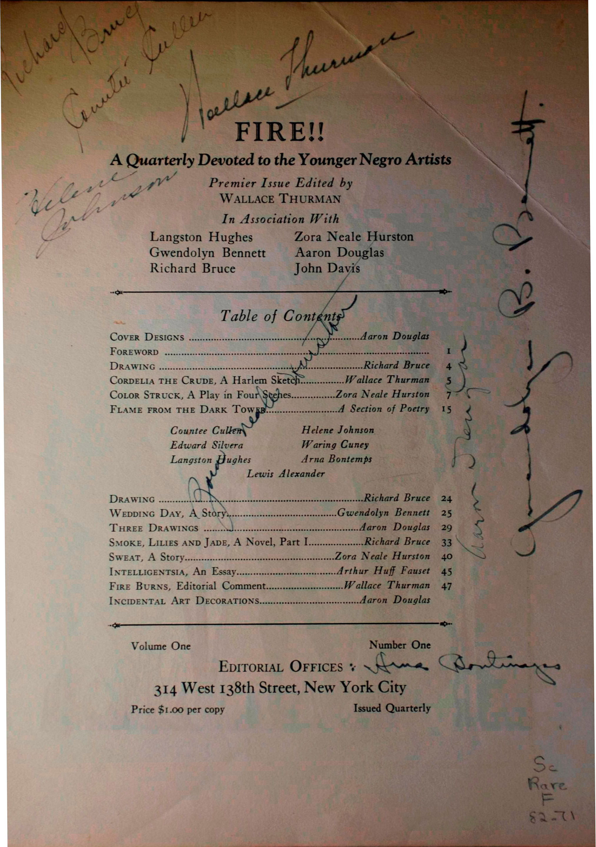 FIRE!! A Quarterly Devoted to Younger Negro Artists (1926), Table of Contents