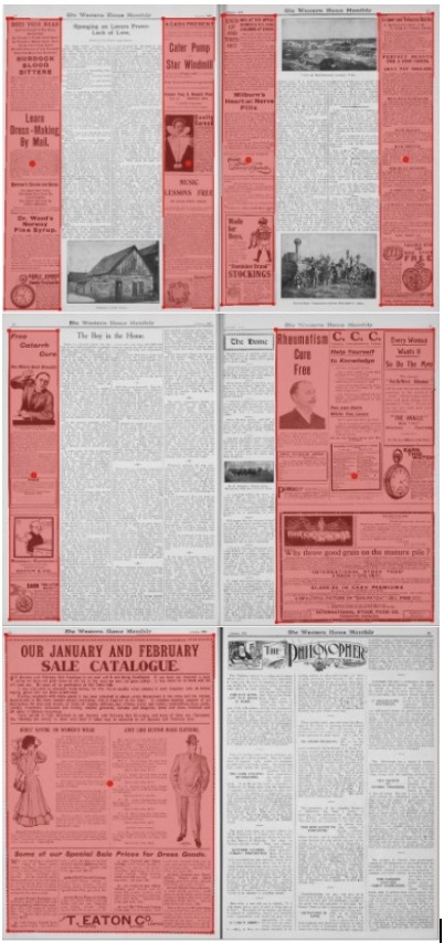 Further advertising patterns in Western Home Monthly, January 1906.