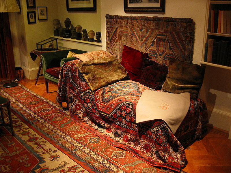Freud's couch, Freud Museum, London.