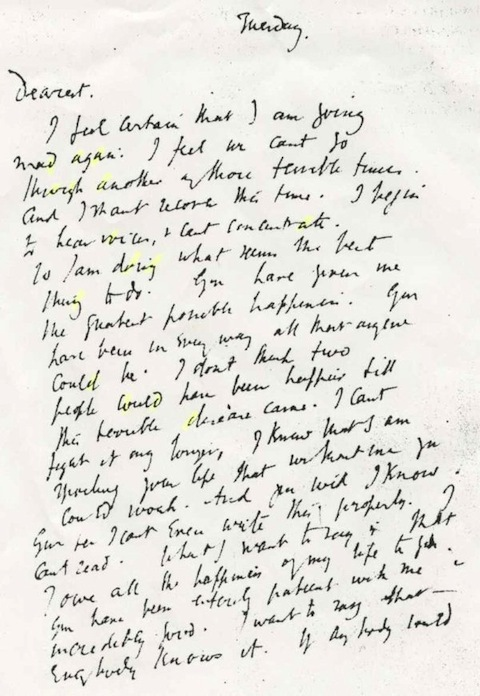 Virginia Woolf's last letter to her husband, March 28, 1941.