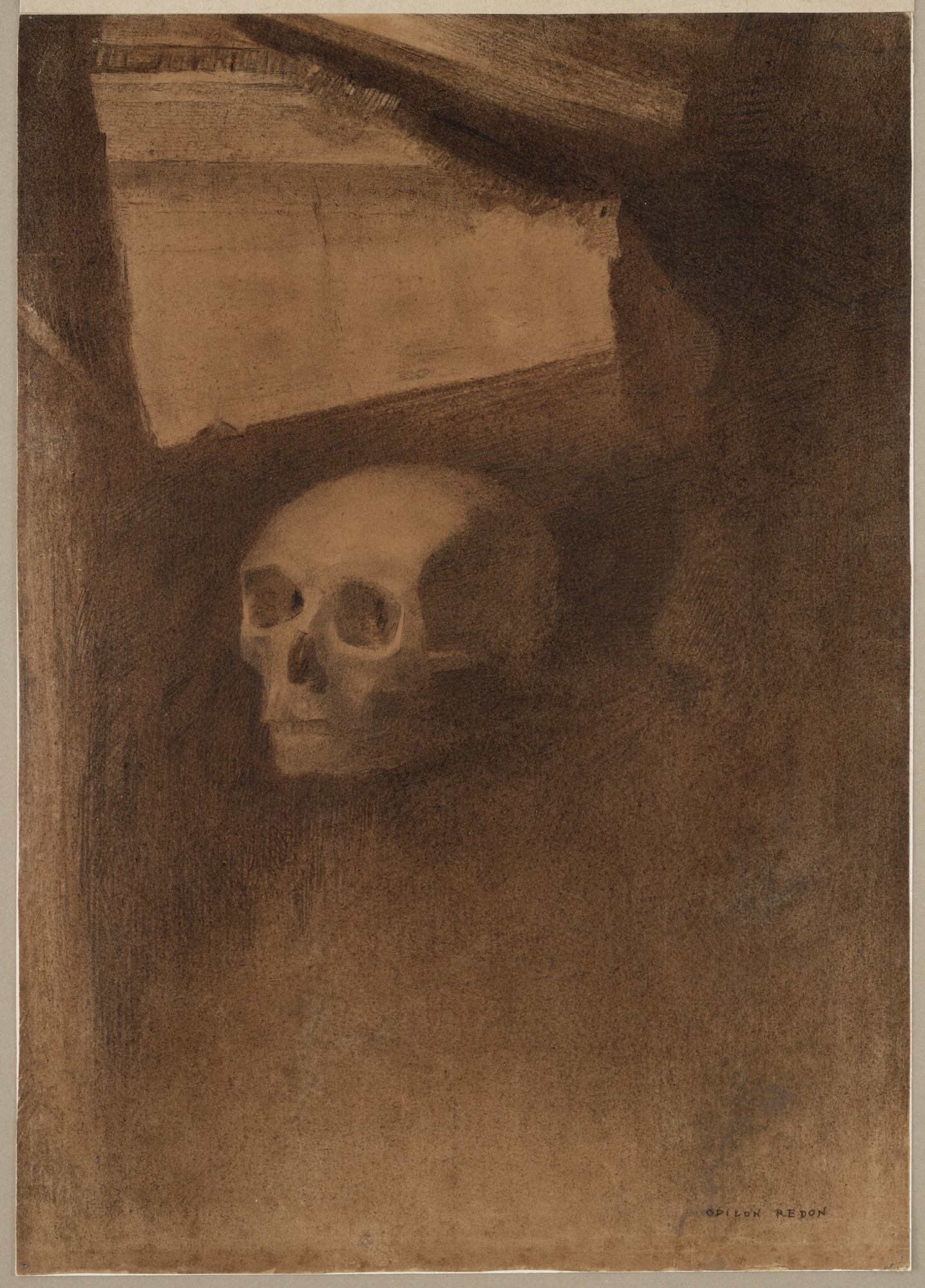 """Odilon Redon, """"Through the Crack a Death's-Head Was Projected,"""" ca. 1886."""