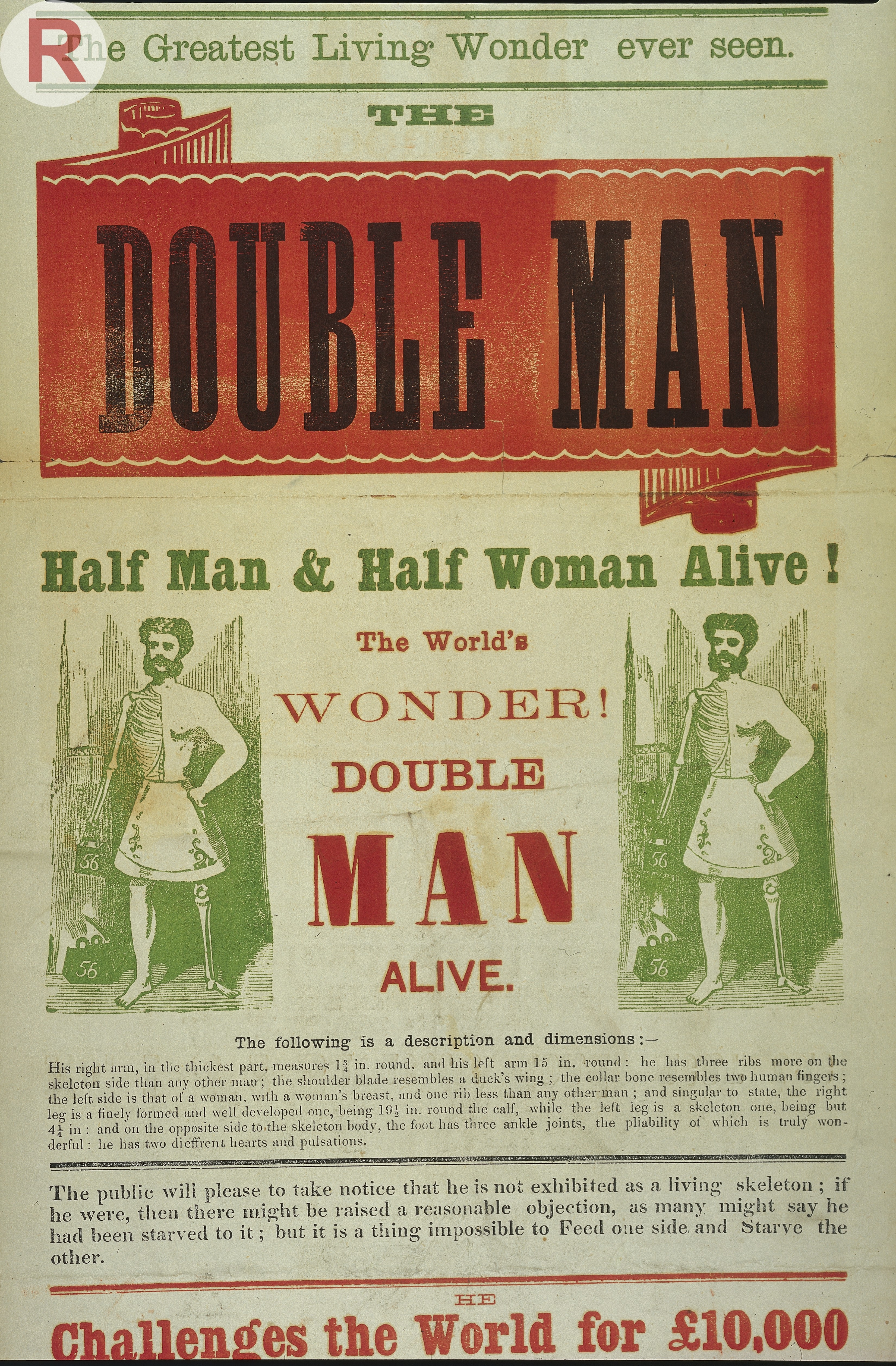 """Poster of Barry's exhibition of Living Wonders, """"The Double Man,"""" ca. 1871."""