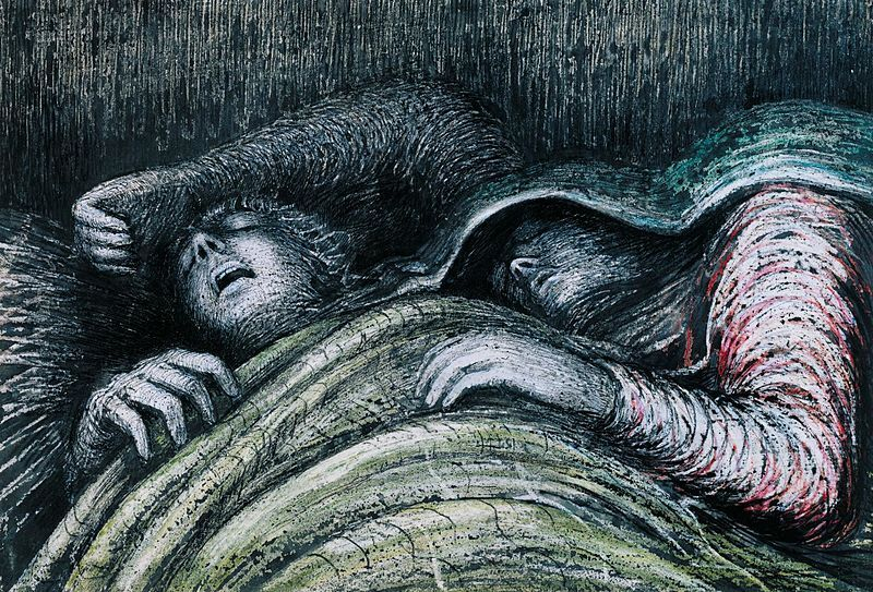 Henry Moore, Pink and Green Sleepers, 1941, graphite, ink, gouache, and wax on paper.