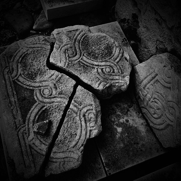 Fragments of a Byzantine marble panel from the iconostasis of a lost church, Nesebar, Bulgaria.