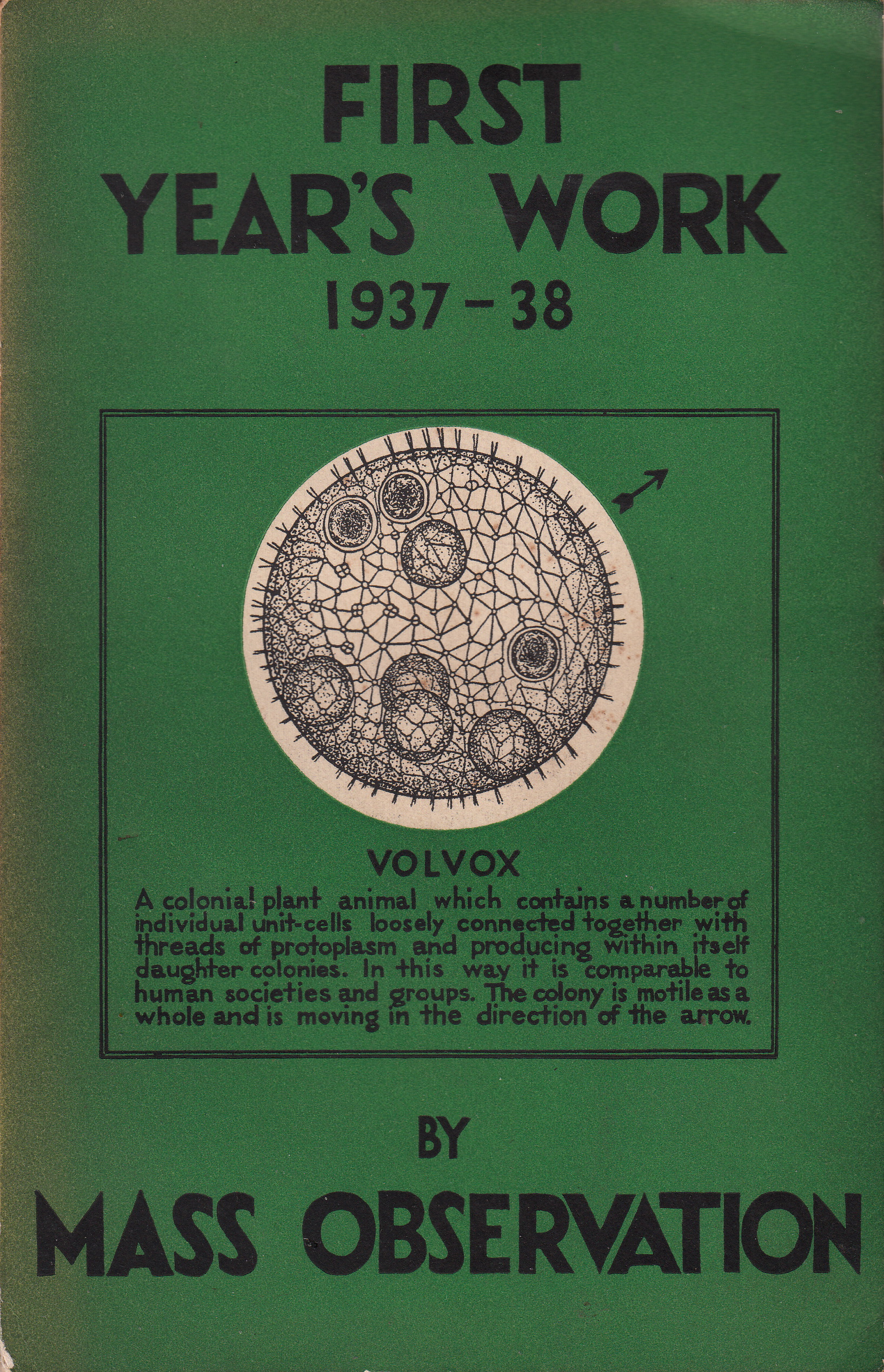 The cover of Mass-Observation's First Year's Work: 1937–1938.