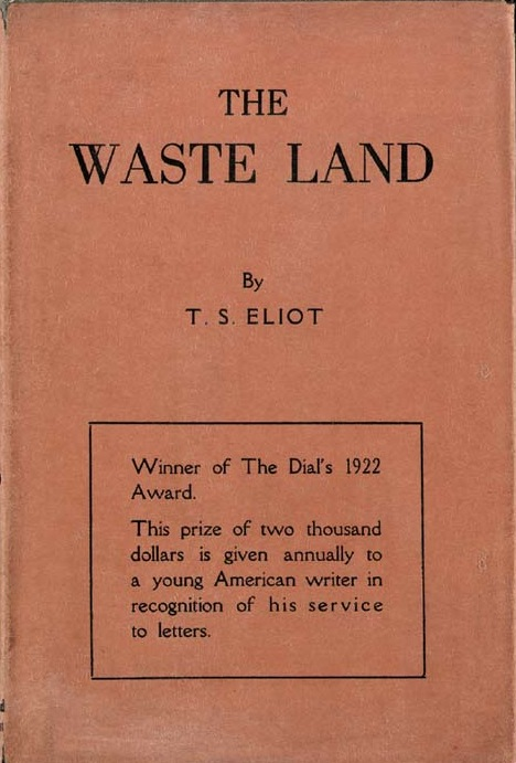 "Cover of the Boni and Liveright edition of ""The Waste Land,"" 1922. Image courtesy Wikimedia Commons."