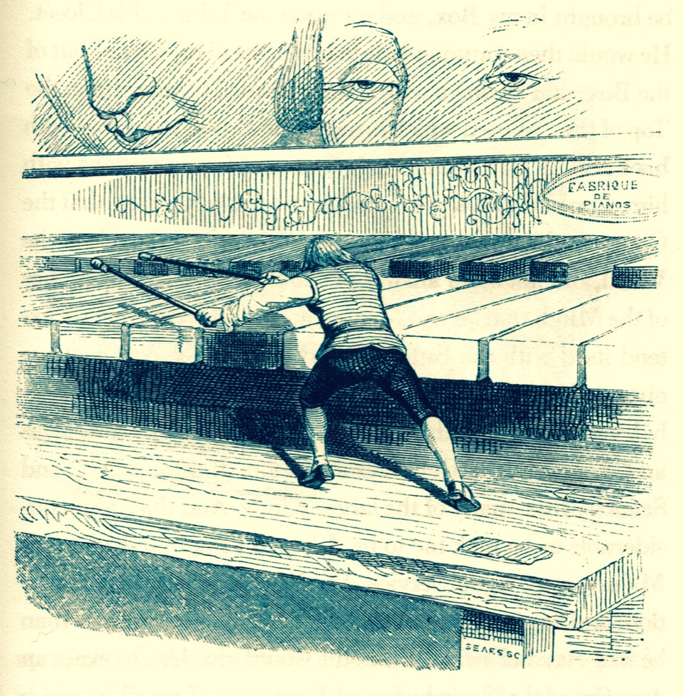 Gulliver playing the spinet, illustration from Gulliver's Travels into Several Remote Regions of the World, 1842, by Jonathan Swift, with drawings by J. J. Grandville.