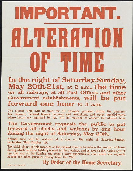 A Home Office poster informing the public of the introduction of summer time on May 21, 1916.