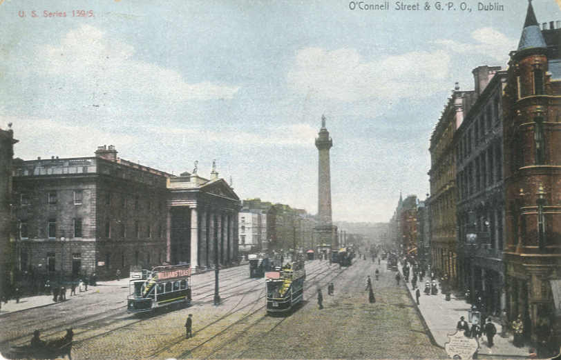 Looking north up Sackville Street (later O'Connell Street) with a view of the General Post Office and Nelson's Pillar, c. 1907.