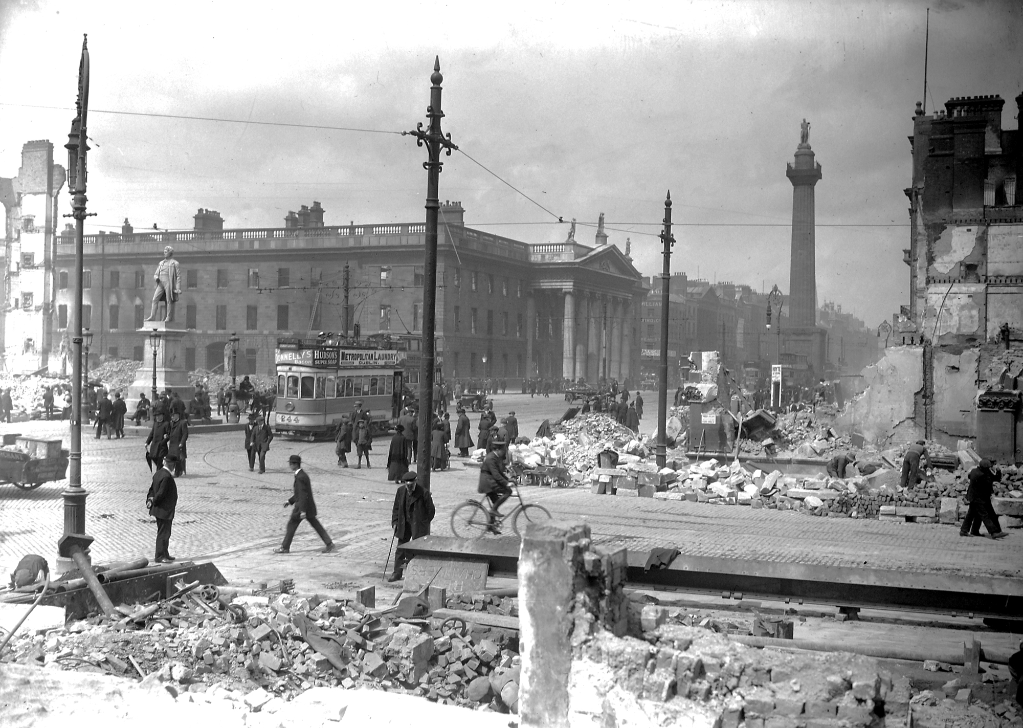 Abbey and Sackville Street (O'Connell Street) shelled, rubble remaining.