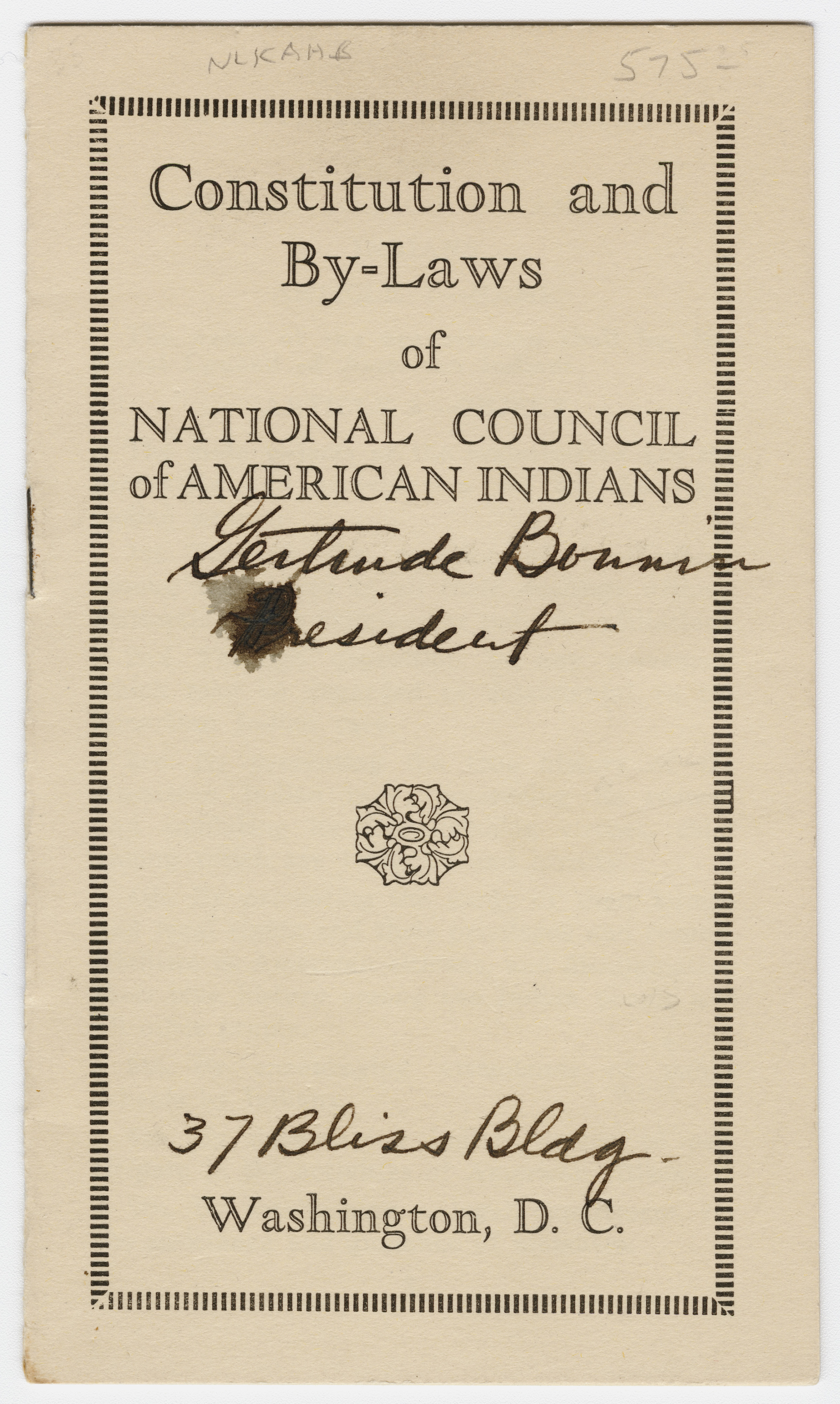 Constitution and By-Laws of the National Council of American Indians