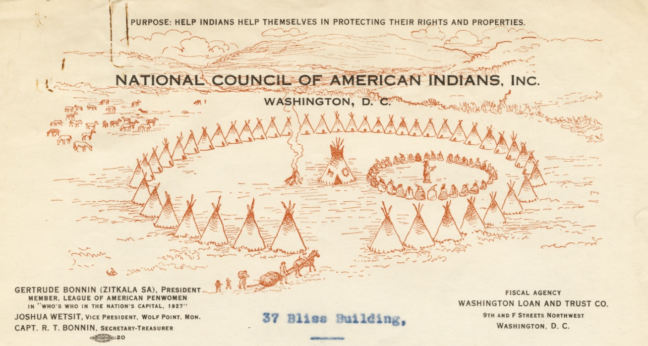 """National Council of American Indians, Inc, """"Campground"""" Letterhead, 1926–38"""
