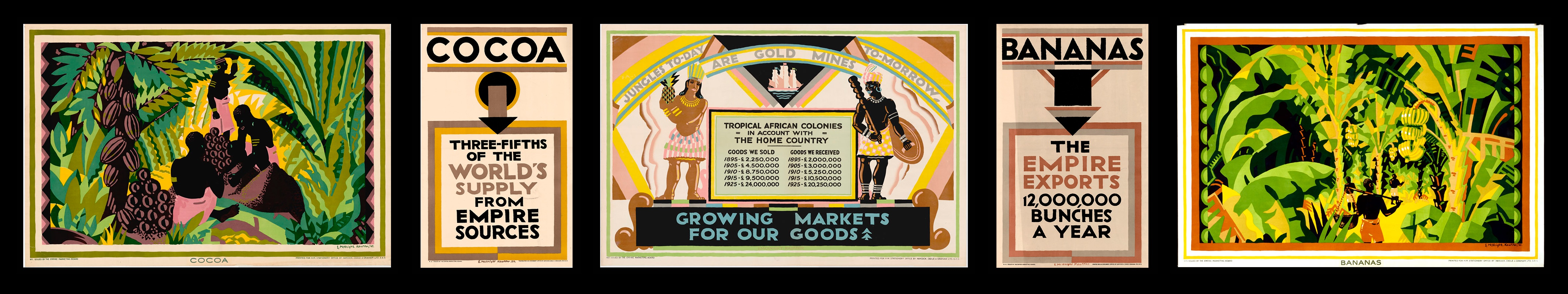 """Edward McKnight Kauffer, """"One Third of the Empire is in the Tropics"""" Poster Set"""