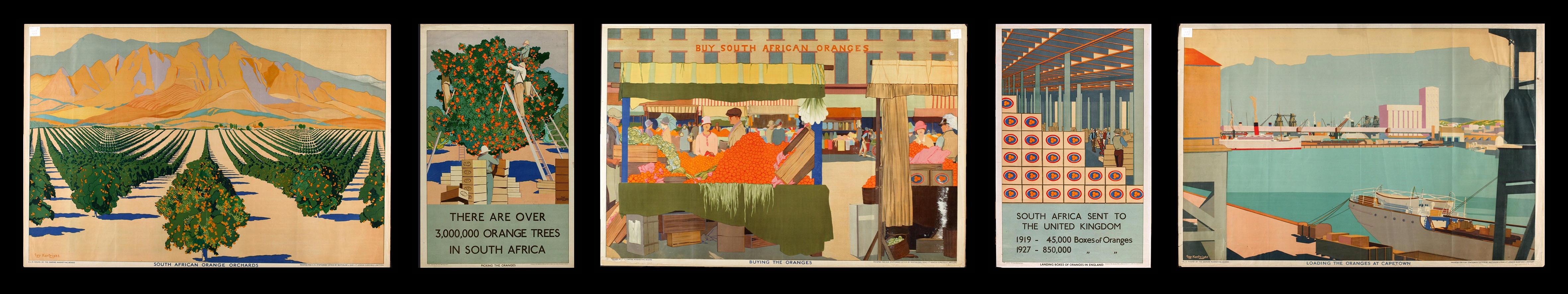 """Guy Kortright, """"Summer Oranges from South Africa"""" Poster Set"""