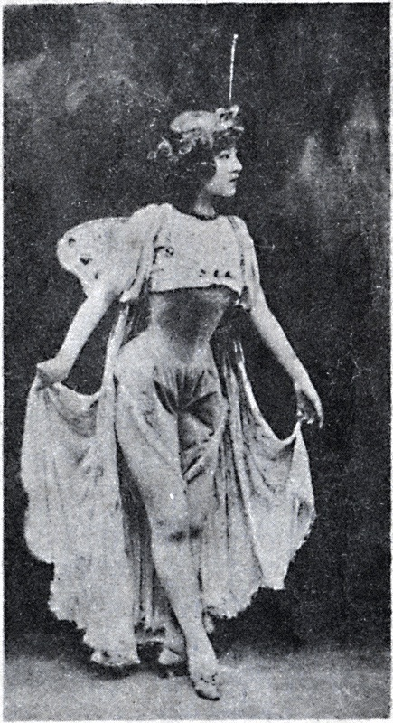 "Yu Rongling in 1902. She plays the part of a Loie Fuller inspired Butterfly Girl in the ""Rose and Butterfly."""
