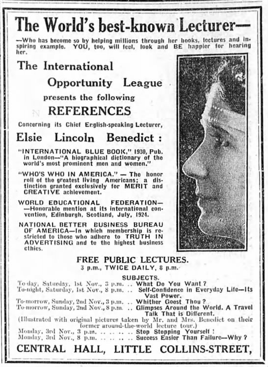 """""""The World's best-known Lecturer,"""" The Age, Melbourne, Australia, November 1, 1930, 21"""