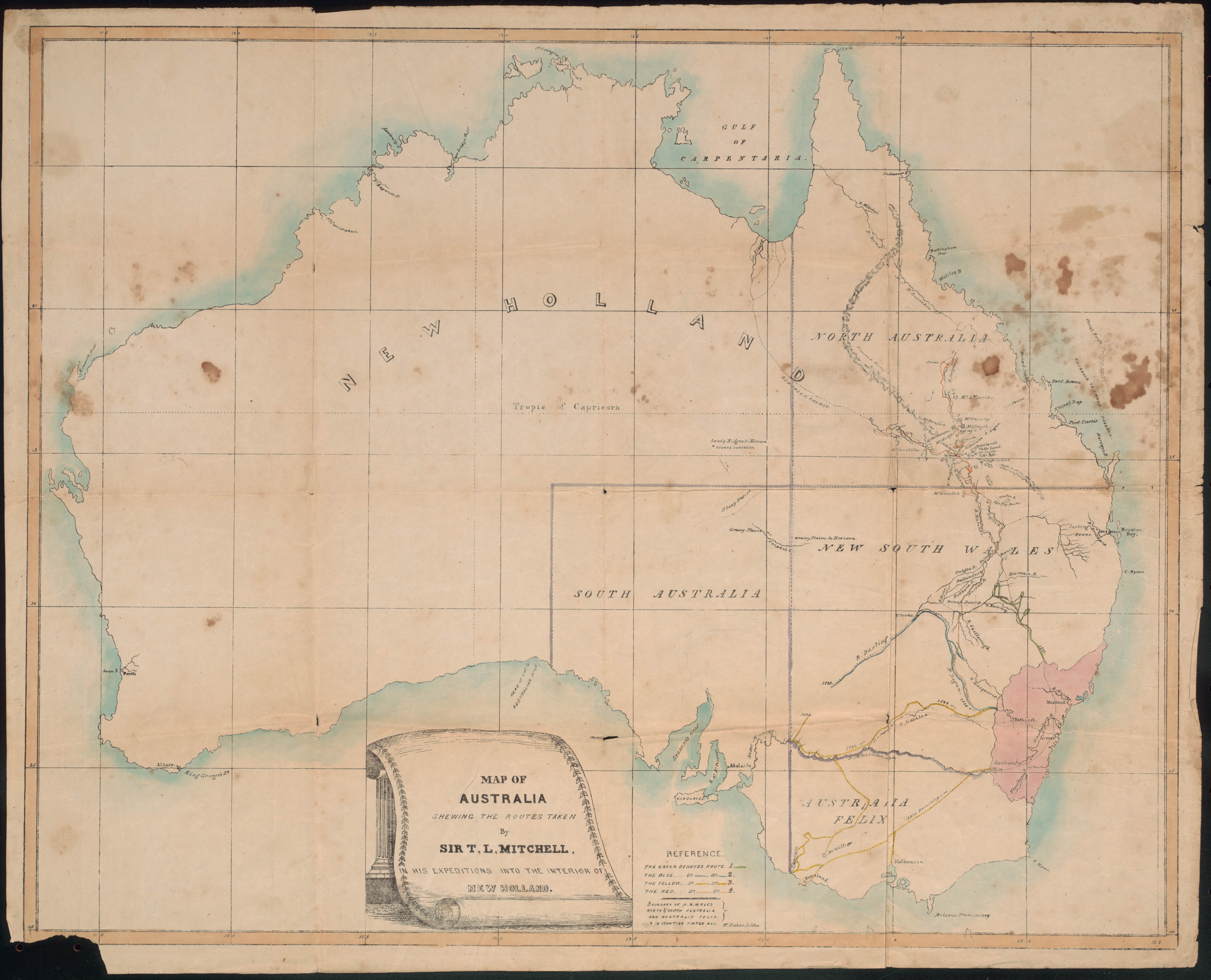 William Baker, Map of Australia showing the routes taken by Sir T.L. Mitchel