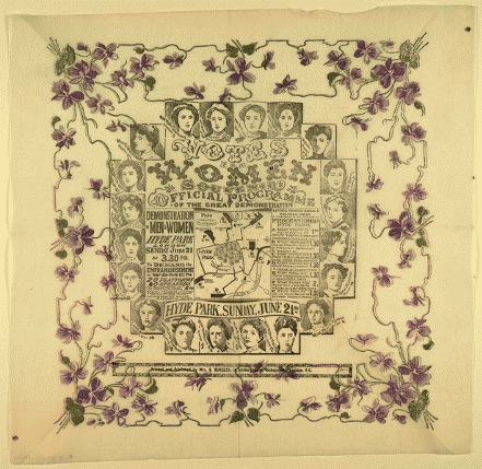 "Souvenir paper table napkin printed with a programme for the ""Votes for Women"" Coronation procession of 1911."