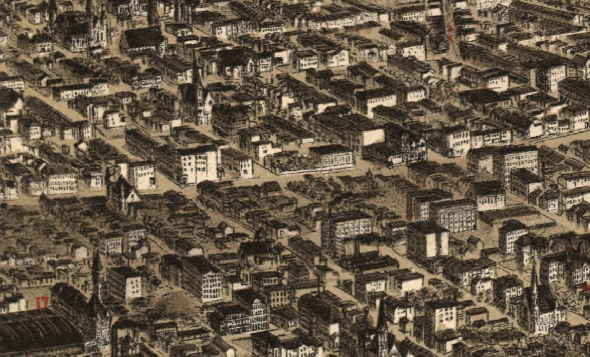Detail from Charles Juehne, The Panorama of St. Louis (c. 1892), showing a dark area of small tenement buildings on the east (lower) side of Jefferson Avenue with larger houses on the west side (upper). Union station is in the lower left corner.