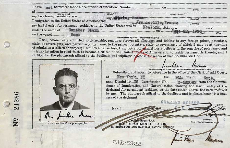 Extract from Günther Anders's Declaration of Intent to apply for American Citizenship, 1936