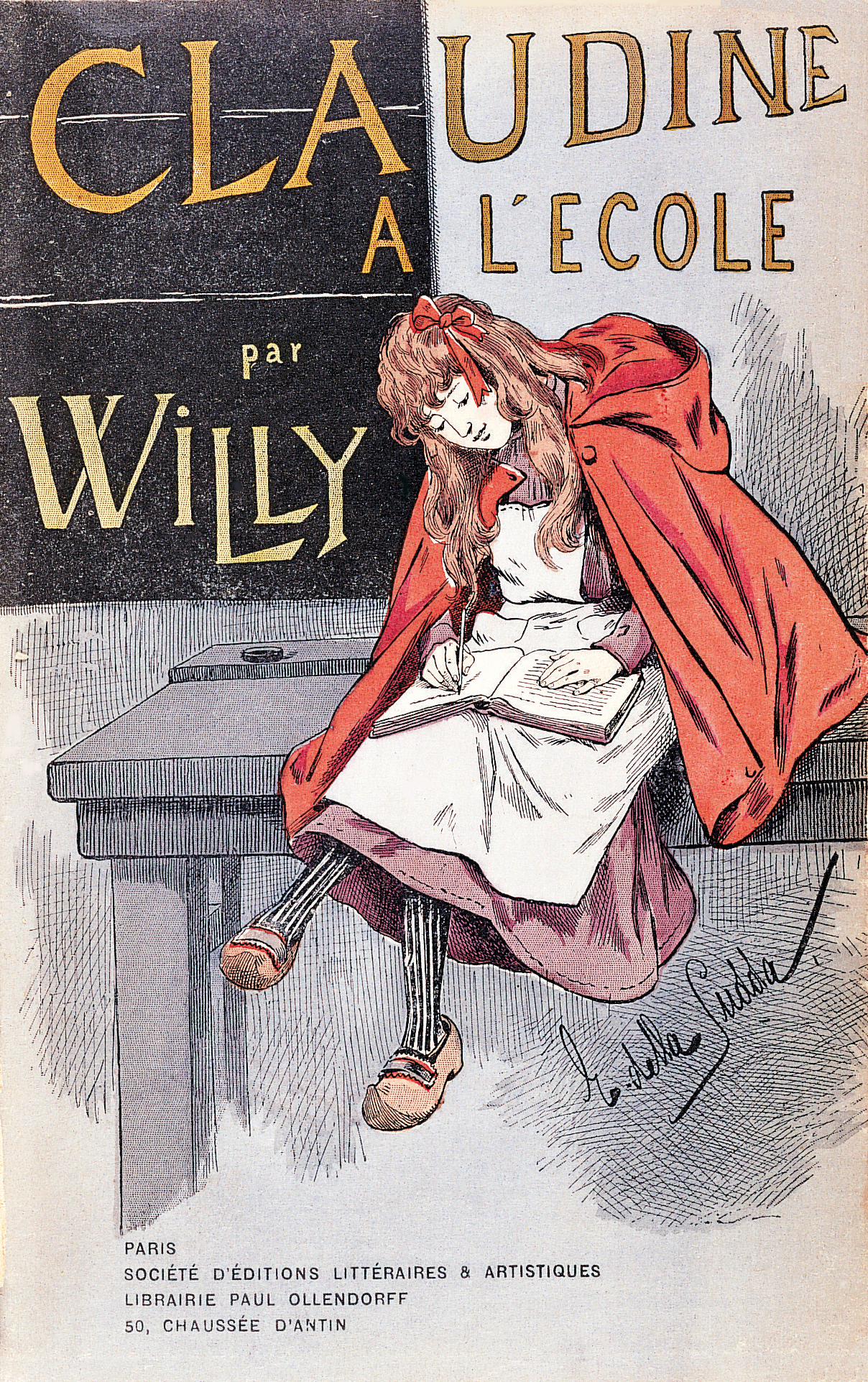 Cover of first edition of Claudine à l'école (1900).