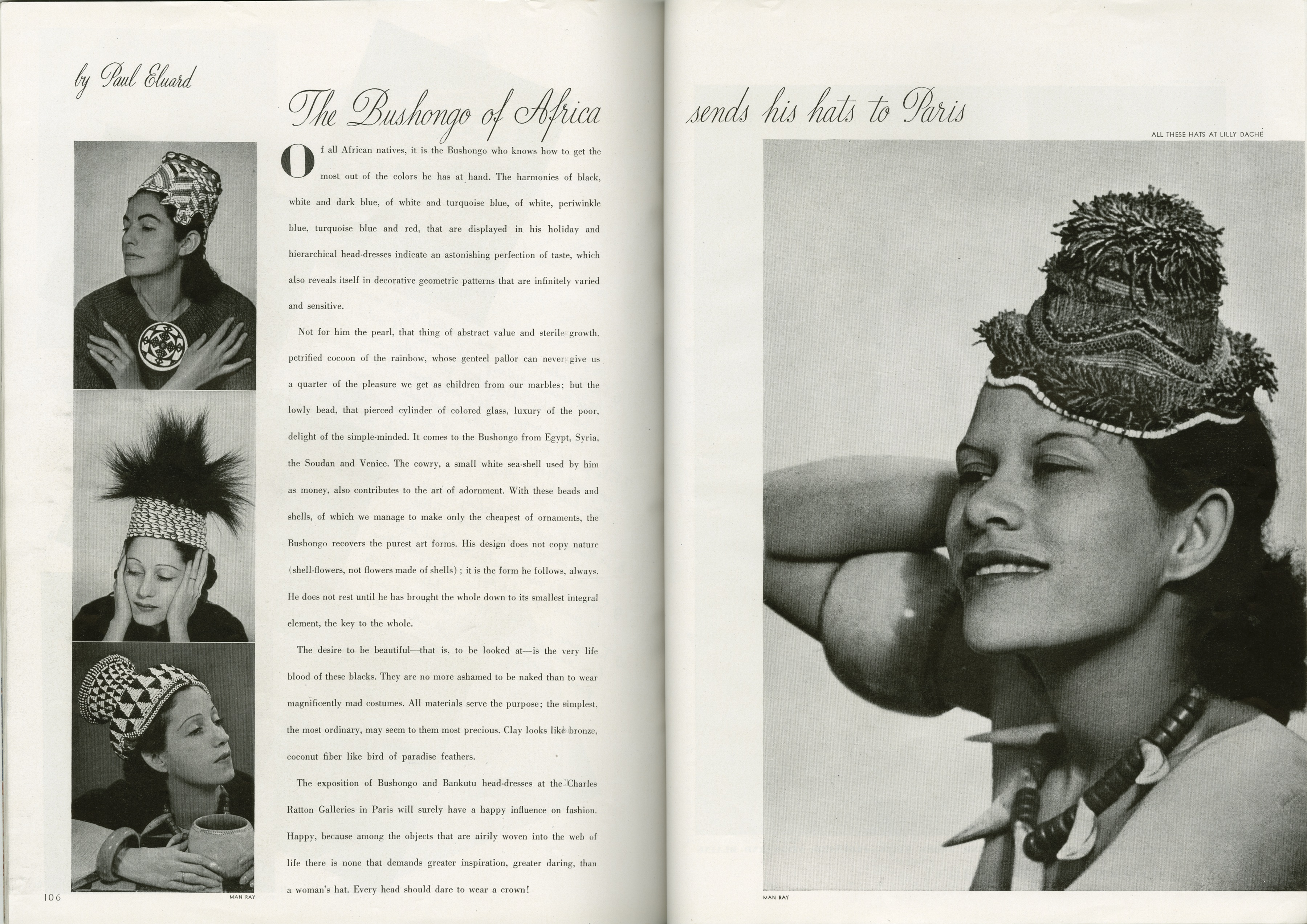 """The Bushongo of Africa sends his hats to Paris,"" Harper's Bazaar, September 15, 1937."