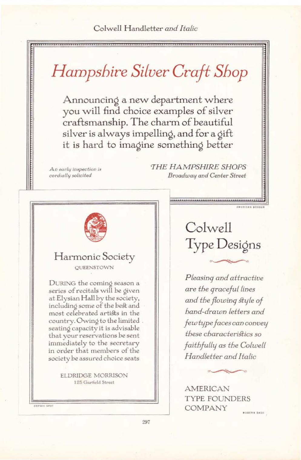 Page 297 of the 1923 ATF type catalogue. Top: an advertisement for a newly opened silver craft shop. Bottom left: an invitation to members of the Harmonic Society to reserve seats for the season's recitals. Bottom right: ATF's description of Colwell Handl