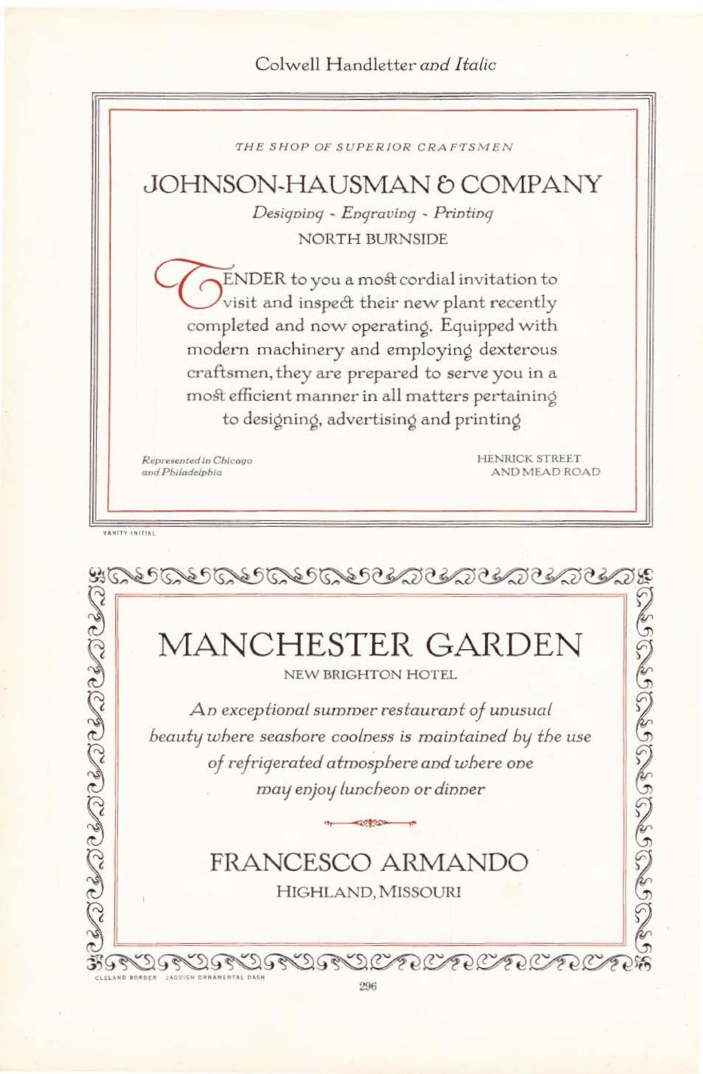 "Page 296 of the 1923 ATF type catalogue. Top: an invitation to the opening of a design and printing company. Bottom: an announcement of the Manchester Garden's summer restaurant featuring a ""refrigerated atmosphere."""
