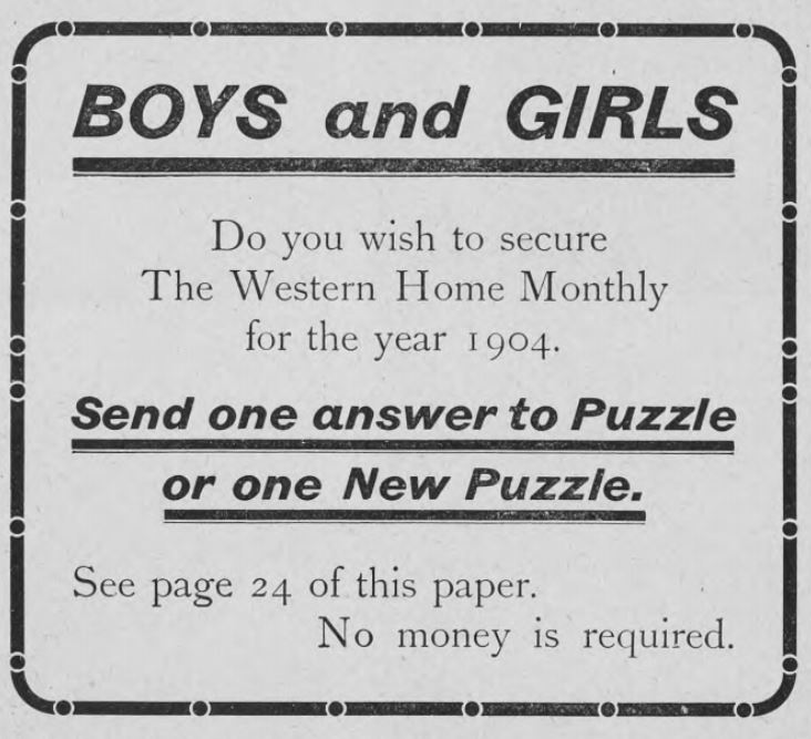 Advertisement, Western Home Monthly, November 1903, 6.