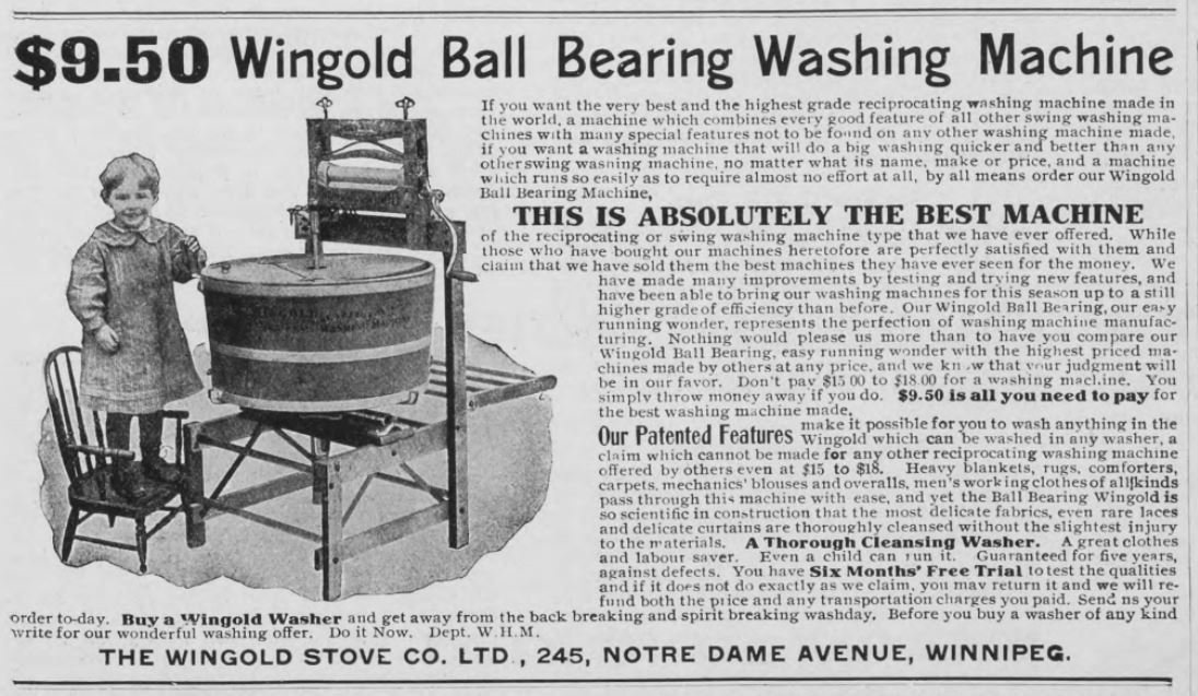 The Wingold Stove Co. Advertisement, Western Home Monthly, November 1908, 27.
