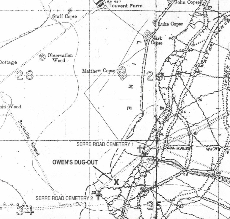 Map indicating location of Owen's dugout just off the Serre Road.