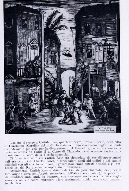 Image of Catfish Row from the Italian program for Porgy and Bess.