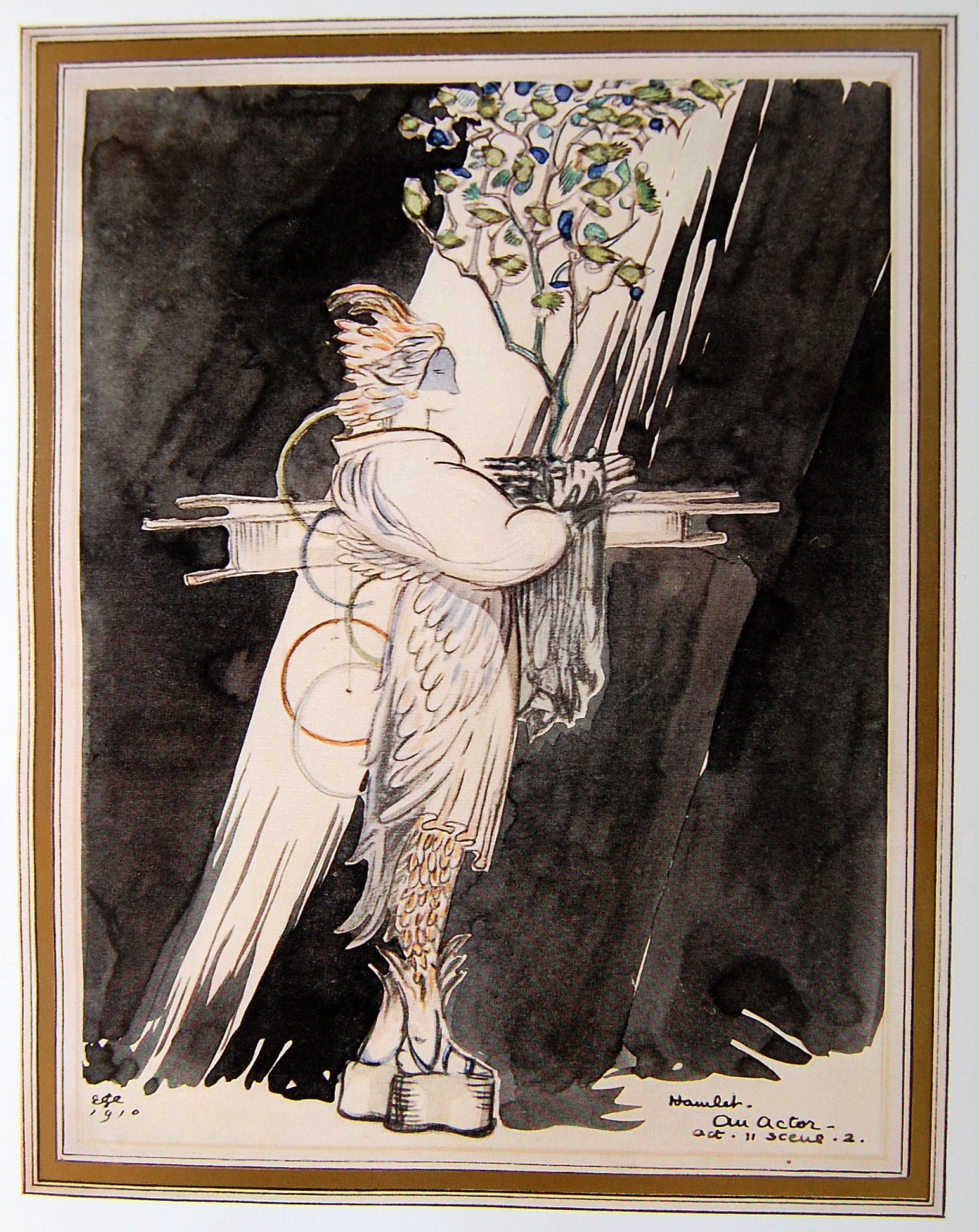 Plate of 1910 costume design for an actor in Hamlet (Act II, Scene II) by Edward Gordon Craig in Robes of Thespis: Costume Designs by Modern Artists, edited for Rupert Mason by George Sheringham and R. Boyd Morrison.