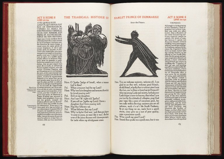 A page opening from Act II, Scene II, as seen in the 1930 limited edition of Hamlet printed by Cranach Press.