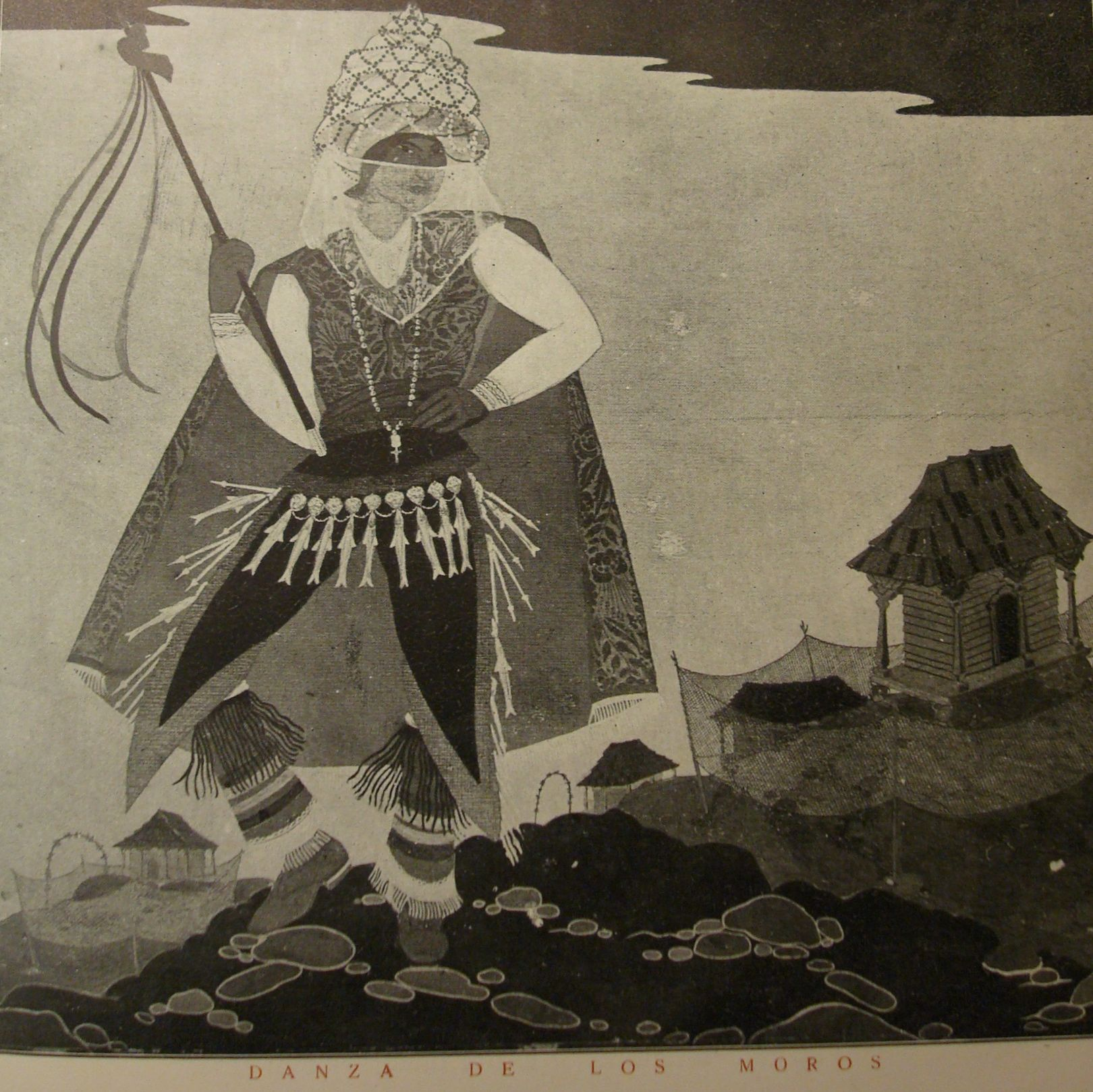 """Carlos González's illustration of the scene """"La danza de los moros"""" (The Dance of the Moors) from the illustrated program of the Murciélago."""