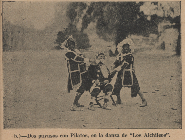 "Indigenous children in ""Los Alchileos,"" a religious dance-drama traditionally performed in the communities surrounding Teotihuacán that was adapted by artists for performance in the open-air theater."