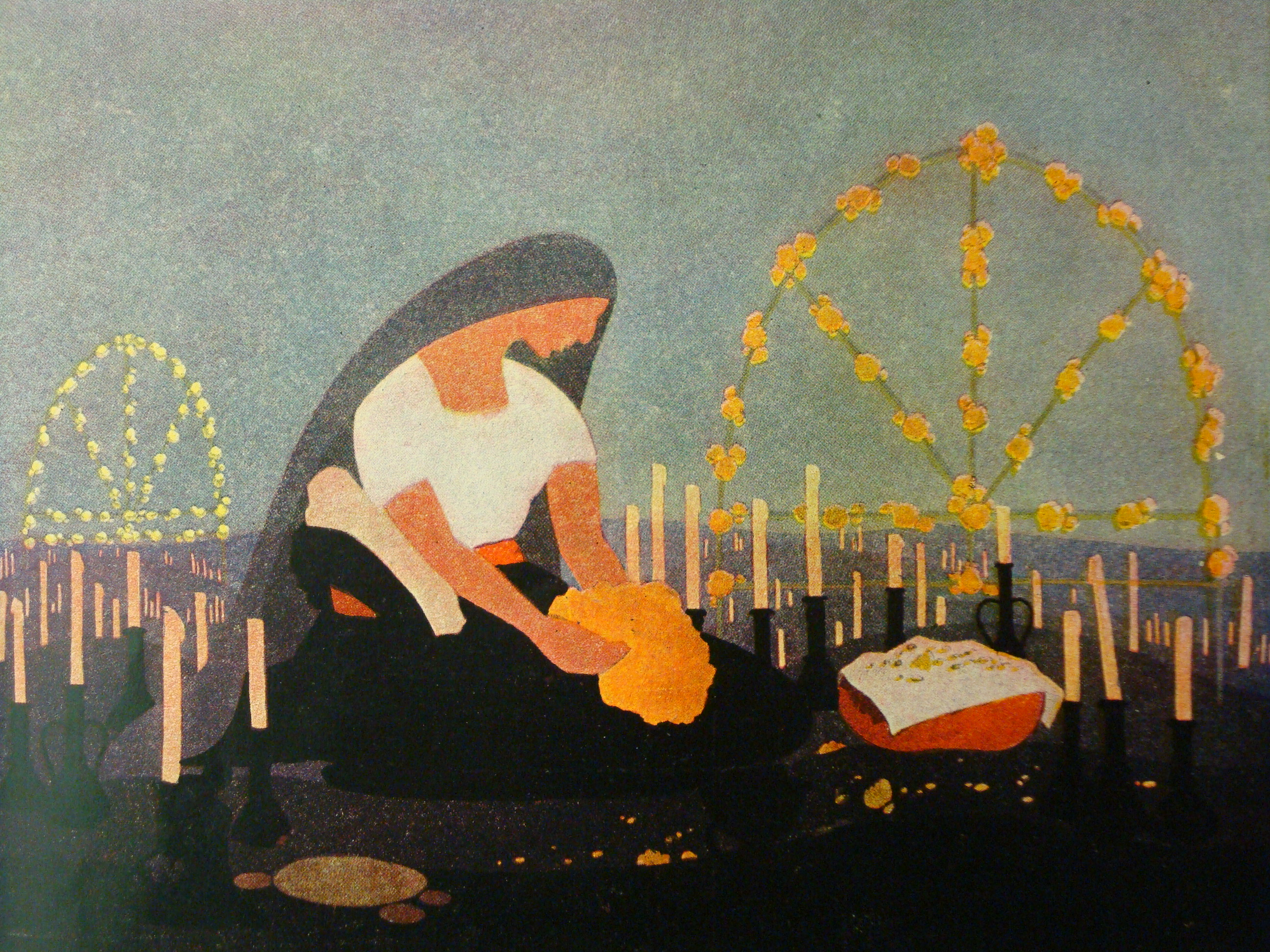"Carlos González's illustration of the scene ""La Ofrenda"" (The Offering) from the illustrated program of the Murciélago."