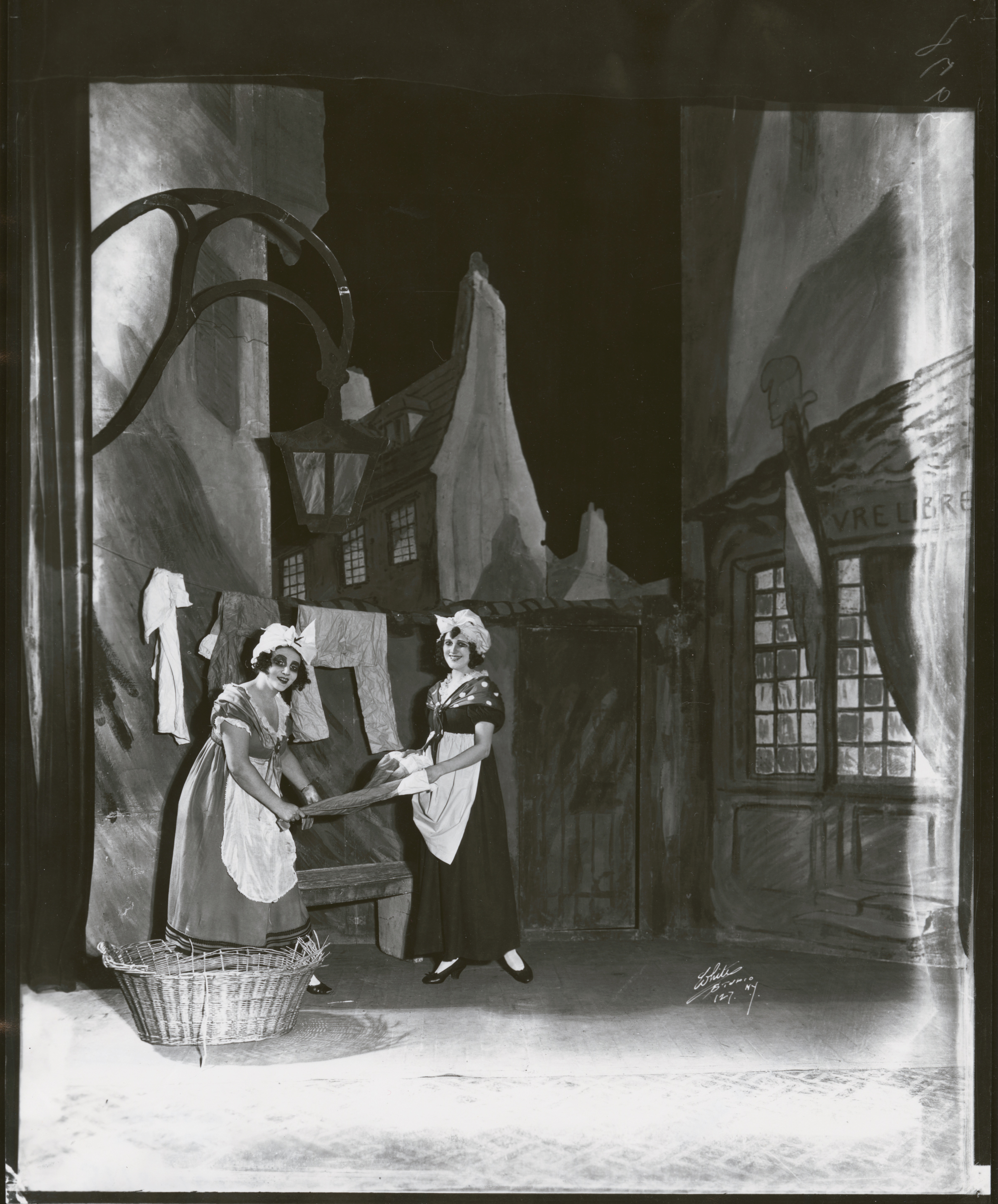An unidentified scene from the Chauve-Souris's New York run that involved two Parisian washerwomen (ca. 1922-1923).