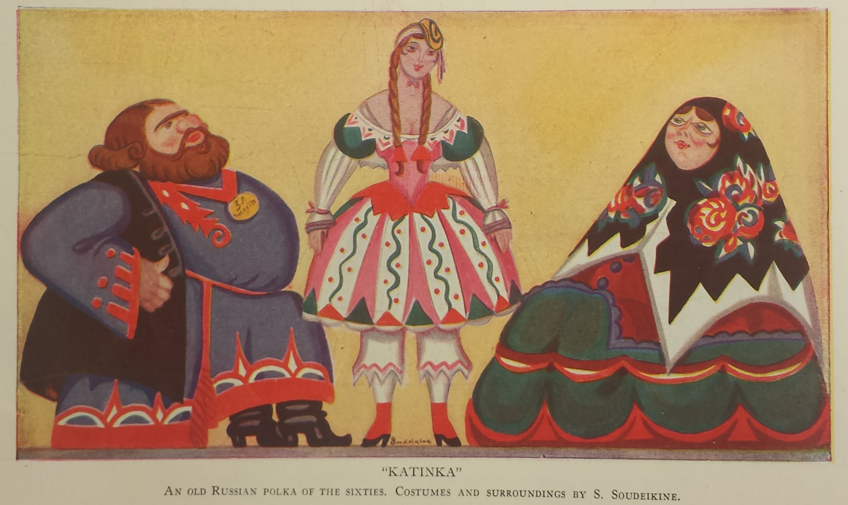 "Sergei Sudeikin's illustration of the ""Katinka"" scene. This same image appeared in the program for the fourth run in Paris."