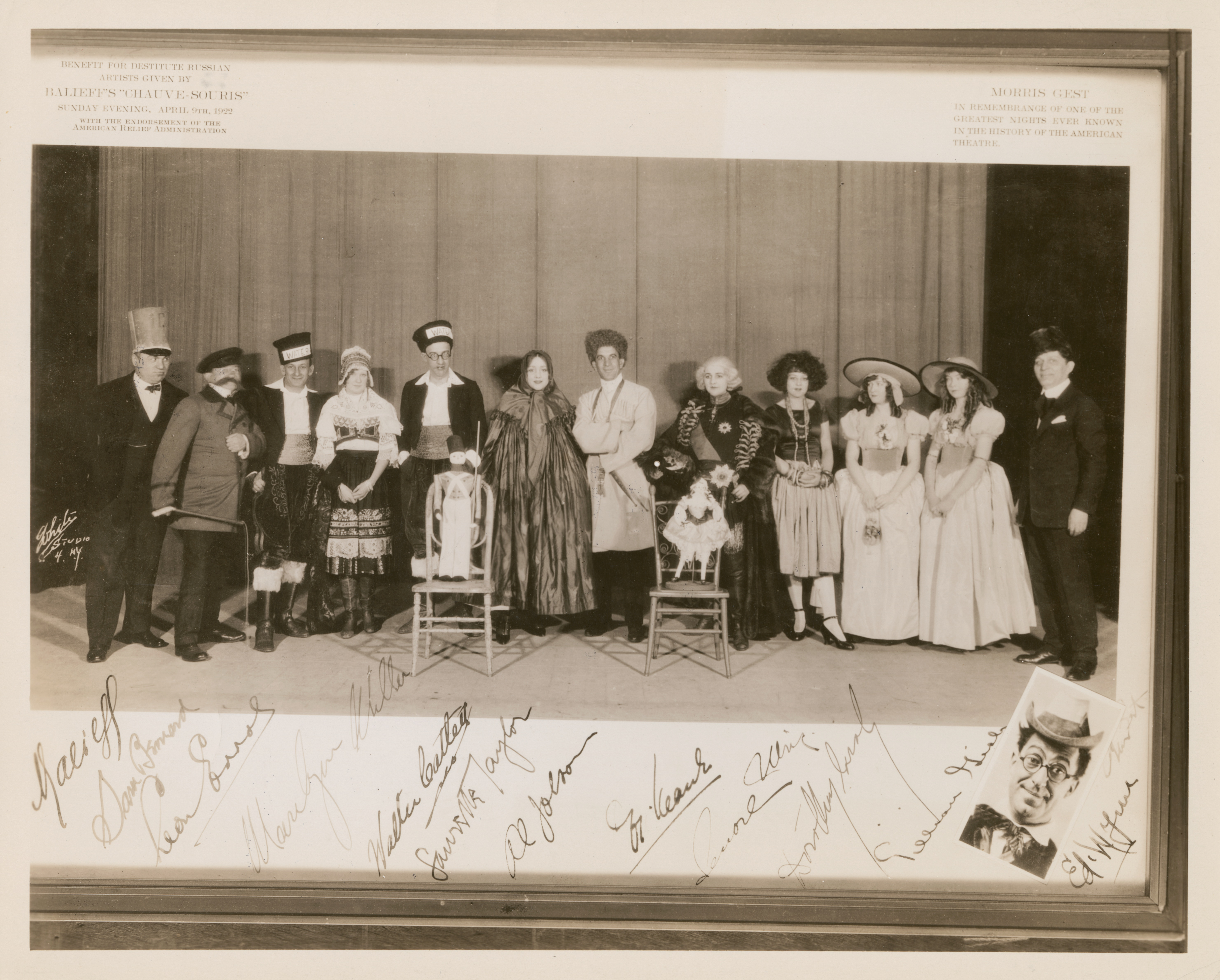 Al Jolson and other celebrities, including Balieff (far left) and other members of the Chauve-Souris's cast at the Benefit for Destitute Russian Artists, April 9, 1922.