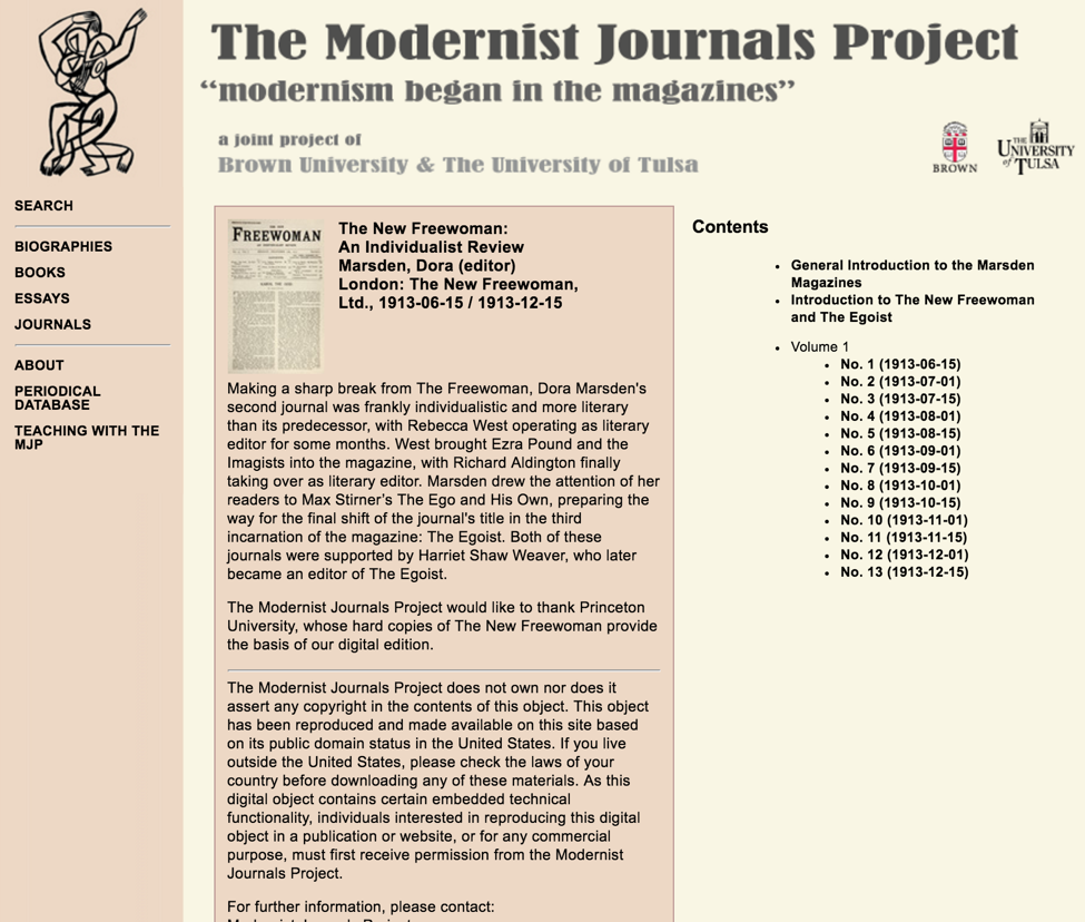 Research Paper Essay The New Freewoman On The Modernist Journals Project English Essay On Terrorism also Essay On Science The New Freewoman On The Modernist Journals Project  Modernism  Essay On Business