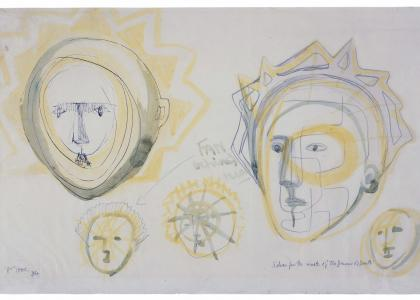 Henry Moore, Mask concept sketches for Auden's Dance of Death