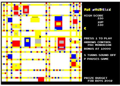 Screen capture from Price Budget Boys, Pac-Mondrian (2002).