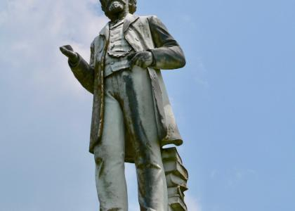 Close-up of Col. William Falkner statue, Ripley, Mississippi.