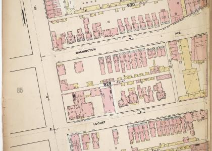 Whipple's Fire Insurance Map of 1897 showing the 2600 blocks of Washington and Locust Street