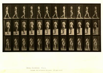 Eadweard Muybridge, Woman walking, right hand at chin