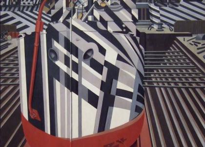 "Edward Wadsworth, ""Dazzle-Ships in Drydock at Liverpool,"" (1919)."