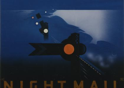 Pat Keely's Night Mail publicity poster, 1936. Image courtesy Wikimedia Commons.